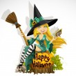Beautiful young witch with a book and broom sitting on a pumpkin . Halloween — Stock Vector
