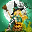 Stock Vector: Beautiful young witch with book and broom sitting on Halloween background