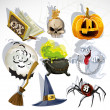 Royalty-Free Stock Vector Image: Collection of Halloween related objects and creatures