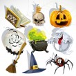 Stock Vector: Collection of Halloween related objects and creatures