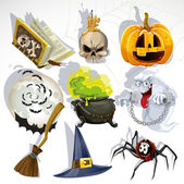 Collection of Halloween related objects and creatures — Stock Vector