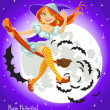 Cute young witch on a broomstick in the night sky with his retinue of bats — Stock Vector