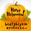 Stock Vector: Happy Halloween cut out pumpkin lowercase alphabet