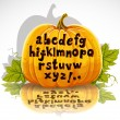 Happy Halloween cut out pumpkin small letters alphabet — Stockvektor