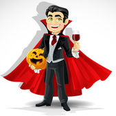 Charming predatory vampire with Halloween pumpkin and a glass of blood — Stock Vector