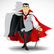 Skilled old vampire in cape and with walking stick — Imagen vectorial