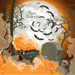 Happy Halloween Night of 31 October - pot of potion on the full moon in the cemetery — Stock Vector