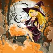 Witch with potion in the pot sits in the cemetery on Halloween night — Stock Vector #13346127