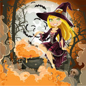 Witch with potion in the pot sits in the cemetery on Halloween night — Stock Vector