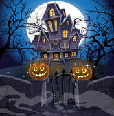 Happy Halloween cozy haunted house behind a stone wall — Stock Vector