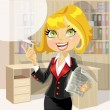 Cute business woman in office with speech bubble — Stock Vector
