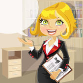 Blond business woman in office with speech bubble — Stock Vector