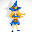 Cute little girl dressed as a witch Trick or Treat — Stock Vector