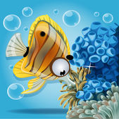 Discus fish on a blue background with anemones and corals — Stock Vector