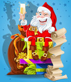Santa Claus with gifts and champagne — Stock Vector