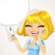 Beautiful girl says on the phone about a positive pregnancy test result — Stock Vector