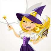 Cute young witch with magic wand and book — Stock Vector