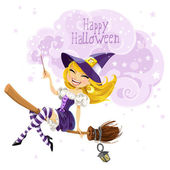 Cute witch flying on a broom and conjures wish Happy Halloween — Stock Vector