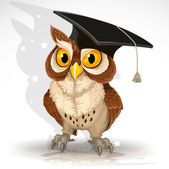 Wise owl in the cap of the graduate — Stock Vector