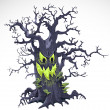 Terrible Halloween cartoon tree with a grin isolated on white background — Stock Vector