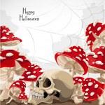 Happy Halloween banner with amanita mushroom frame and skull — Stock Vector