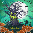 Royalty-Free Stock Vector Image: Terrible Halloween cartoon tree with a grin at midnight on October 31 on the cemetery