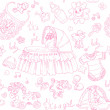 Seamless background is a girl with toys, clothing and accessories doodle - Stock Vector