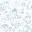 Seamless background is a boy with toys, clothing and accessories doodle — Stockvektor #13841362
