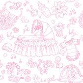 Naadloze achtergrond is een meisje met speelgoed, kleding en accessoires doodle — Stockvector