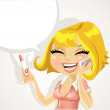 Girl says on the phone about a pregnancy test result — Stock Vector