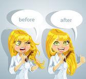 Linda garota penteando o cabelo - ilustração vetorial tangled antes e suave e obediente depois — Vetorial Stock