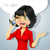 Cute brunette girl talking on the phone about something unpleasant — Stock Vector