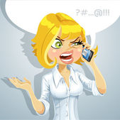 Cute blond girl talking on the phone about something unpleasant — Stock Vector