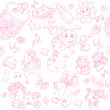 Royalty-Free Stock Vector Image: Seamless background its a girl with toys, clothing and accessories doodle