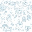Seamless background its a boy with toys, clothing and accessories doodle — Stockvectorbeeld