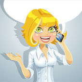 Cute blond girl talking on the phone about something pleasant — Stock Vector