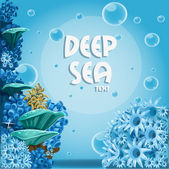Deep sea blue background with actin and corals — Stock Vector