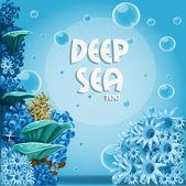 Fondo profundo mar azul con actina y corales — Vector de stock