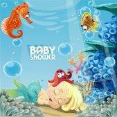 Baby shower with sleeping baby mermaid — Stok Vektör