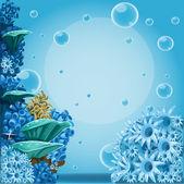 Fondo profundo mar azul con actina y corales. banner para tu texto — Vector de stock