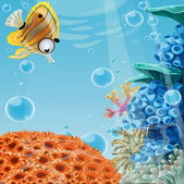 Banner deep blue sea with coral reefs and sea anemones. Banner for your text — Stock Vector