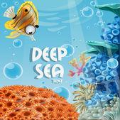Bandera azul profundo del mar con arrecifes de coral y las anémonas de mar — Vector de stock