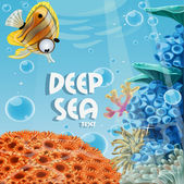 Banner deep blue sea with coral reefs and sea anemones — Stockvektor