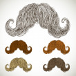 Stock Vector: Lush mustache groomed in several colors.