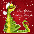 New Year Snake ate a Christmas tree banner on red background — ストックベクタ