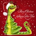 Neujahr Schlange aß einen Weihnachtsbaum-Banner auf rotem Hintergrund — Stockvektor