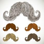 Frondoso bigote preparado en varios colores. — Vector de stock