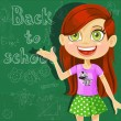 Banner - Back to school - cute little girl at the board ready to learn — Stock Vector