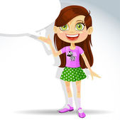 Cute little schoolgirl with speech bubble for text — Stock Vector