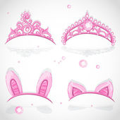 Shining pink girls tiaras with diamonds and carnival tabs on the hoop set — Stock Vector